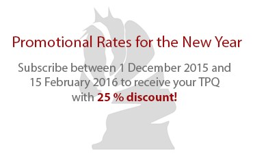 TPQ New Year's Promotion, 25 % Discount on Subscriptions