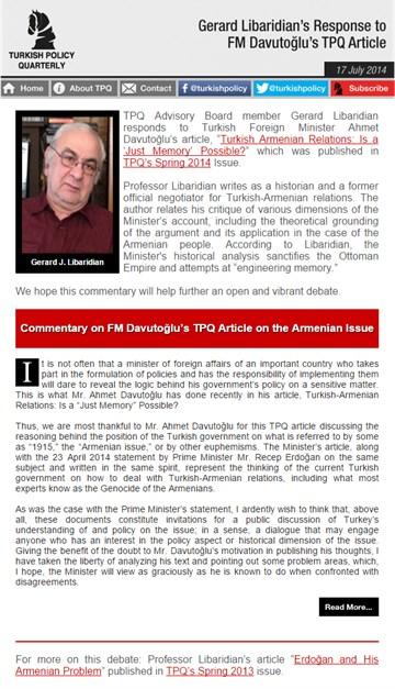 Gerard Libaridian's Response to FM Davutoğlu's TPQ Article